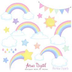 Pastel Rainbows Clipart Scrapbook printables, Vector Rainbow and cloud clip art set .eps. Cute rainbow party Spring graphics