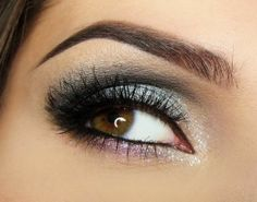 Gray Smoky Eyes on top, Purple shadow on bottom, Sparkles, Dark lashes  For Brown/Green eyes