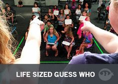Life-Size Guess Who?- exactly what it sounds like. Use construction paper to write the kids name