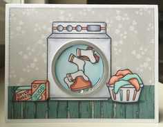 Loads of Fun stamp set from Lawn Fawn. Laundry Room / Shaker Card by Mocha Frap Scrapper