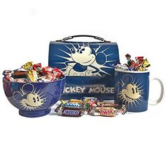 Mickey Mouse Gift Set with Cereal Bowl, Mug, Domed Tin Tote and Celebrations Chocolates