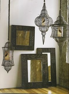 vintage bird cages & block mirrors