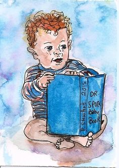 #ACEO TW APR #Baby #Book Dr Spock Cute Watercolor Art #Painting by Penny StewArt #IllustrationArt