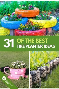 31 Of The Best Tire Planter Ideas Tires are not only for cars. As it turns out, those leftover rubber circles can be turned into a myriad of things, including planters for your yard. Here are 31 ideas for using old tires as planters for your garden. Succulent Wall Planter, Flower Planters, Flower Pots, Flower Ideas, Container Flowers, Tire Garden, Raised Garden Beds, Raised Bed, Terrace Garden