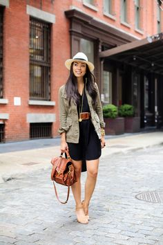 spring / summer - street style - street chic style - beach style - summer outfits - black shirt dress + brown wide belt + brown shoulder bag + utility jacket + olive green jacket + military jacket + panama hat + nude ankle strap heeled sandals