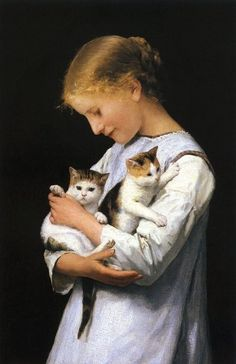 Albert Anker Girl Holding Two Cats Canvas Print