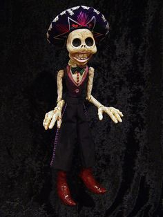 Bali Hand Craft Wood Made Day Of The Dead Wayang Skeleton Puppet Toy Figurine