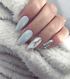 Almond Nails Blue and Grey Nails Marble Nails Silver Glitter Nails Acrylic Nails Gel Nails GlitterBomb almondnails GelNailsFall Marble Acrylic Nails, Almond Acrylic Nails, Acrylic Nail Designs, Fall Almond Nails, Long Almond Nails, Acrylic Gel, Silver Glitter Nails, Gray Nails, Baby Blue Nails