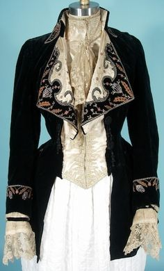 c1884 Black velvet embroidered fancy walking jacket. For more images: http://www.antiquedress.com/item7348.htm