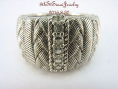 J267355 Judith Ripka Sterling Braided Berge and Diamonique Textured Ring Size 6…