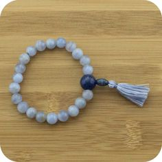 Blue Lace Agate Wrist Mala Bracelet with Lapis Lazuli