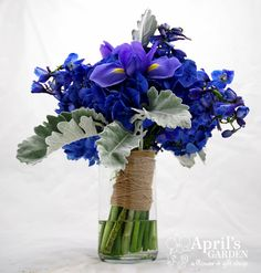 Iris, Hydrangea,dusty miller, delphinium Bridal bouquet  Flowers by April's Garden durangoflorist.com/