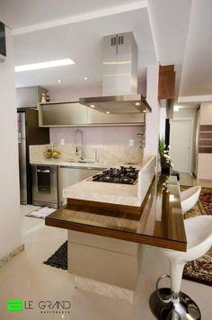 23442-Cozinhas Planejadas-bolda-bueno-design-viva-decora #cozinha #cozinhaamericana #cozinhaintegrada Modern Kitchen Interiors, Modern Kitchen Cabinets, Home Decor Kitchen, Interior Design Kitchen, Kitchen Furniture, Home Room Design, House Design, Mdf Cabinets, Kitchen Confidential