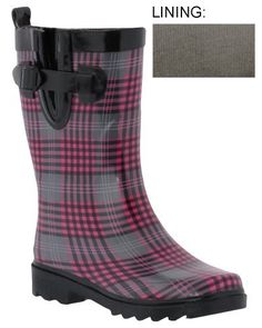 Capelli New York Shiny Fun Glen Plaid Ladies Short Sporty Body Rubber Rain Boot Black Combo 7 Capelli New York. $24.99