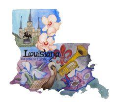 Louisiana the Pelican State Art Print by BluebellsButterflies