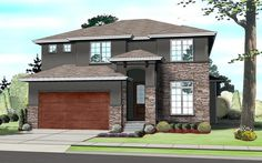 Elevation of Contemporary   Prairie Style   Southwest   House Plan 41109