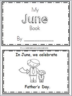 "Free June Mini Book for Kindergarten or preschool reading. Practice reading high frequency words including ""can, have"" in this book. There are 10 pages in Father's Day Activities, Phonics Activities, Preschool Curriculum, Homeschooling, Children Activities, Kindergarten Activities, Kindergarten Crafts Summer, English, Summer School"