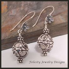 Balinese and Sterling Silver Earrings