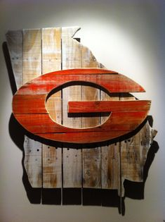 Wooden State of Georgia with UGA logo - Uncle Terry would love this in his man cave!
