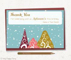 "First birthday Thank you card, winter thank you card, winter birthday party, toddler birthday  - PRINTABLE, 4""x6"". Christmas birthday"