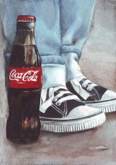 Original Watercolor #Illustration: #Coke and #Converse