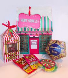 Handmade Harry Potter themed Honeydukes sweet shop. Each hamper includes: - Jelly Belly gourmet jelly beans. - Chocolate frog. - Traditional