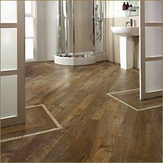 Wood floor with inset design