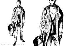 men fashion silhouette sketch - Google Search
