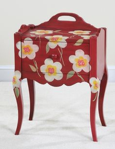 Photo of Hand-Painted Chest with Tapered Cabriole Legs and Whimsical Floral Detail - Whimsy ( Storage, Entryway Storage, Accent Chests)