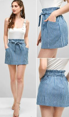 Striped Pockets Belted Paperbag Skirt - Denim Blue S HOT SALES skirt outfits summer, summer outfits … Casual Dresses, Casual Outfits, Cute Outfits, Fashion Outfits, Style Fashion, Fashion 2018, Fashion Brands, Short Dresses, Fashion Jewelry