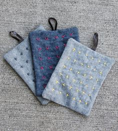 embroidered potholders