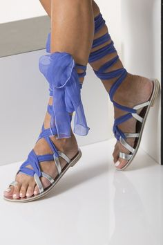 Lace Up Leather Sandals with silk laces, wedding flats, Ophelia