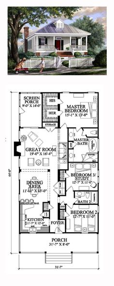 House Plan 57065 - Colonial, Southern, Traditional Style House Plan with 1643 Sq Ft, 3 Bed, 2 Bath Colonial House Plans, Southern House Plans, Cottage House Plans, Dream House Plans, Small House Plans, Cottage Homes, House Floor Plans, Southern Cottage, Cottage Bath
