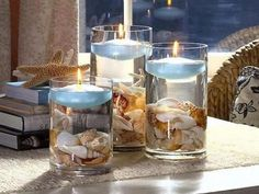Love this idea! So simple and so pretty! Vase, shells, water and floating candles <3