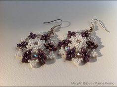 Snowflake shaped earrings with superduo by Marina Perino