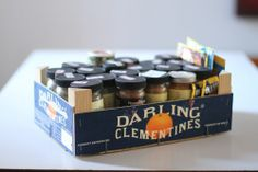 new use for a clementine box...spice storage