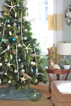 Beautiful Coastal Christmas Tree with handmade sea glass ornaments!