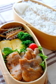 Miso grilled pork, omelet, broccoli, and tomato bento