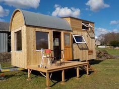 An owner-built tiny house on wheels in Landeleau, Brittany, France.