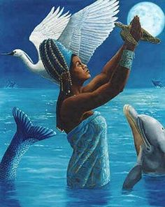 Yemanja is an orisha, originally of the Yoruba religion, who has become prominent in many Afro-American religions. Africans from what is now called Yorubaland brought Yemaya/Yemoja and a host of other deities/energy forces in nature with them when they were brought to the shores of the Americas as captives. She is the ocean, the essence of motherhood, and a protector of children.