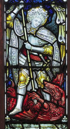 Bockleton East Window - St Michael slaying a dragon by CE Kempe
