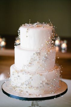 Beaded Wedding Cake  #weddings #cakes #ideas