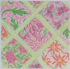 Patchwork of Lilly-inspired Patterns with Lattice -Small Square inPinks & Greens  10 x 10, 13 mesh