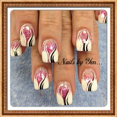 French with a twist #nail design #acrylic #hand painted #mixed media #gradient ...thank you Mrs Kristy!