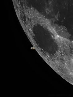 """Space And Astronomy Moon with saturn occulation behind taken by Nasa's LRO - """"Beautiful shot! MT Moon Saturn Occultation composite, best I could do with cloud interference"""" Earth And Space, Cosmos, Space Photos, Space Images, Planets And Moons, Nasa Planets, Space And Astronomy, Astrophysics, To Infinity And Beyond"""
