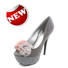 """New! Buy it here:- http://christyng.com/product_info.php?products_id=792  Shop for woman's high heel shoes online with ChristyNg.com! Get unique wedges, peep toe pumps, ballerina flats, custom made shoes, wedding shoes and more online just a click of the mouse away! Serendipity features a sleek peep toe front which enables you to showcase your pedicure! Beautifully crafted chiffon flowers add a twist to this elegant ensemble!    Dimensions: 5.5"""" heel with 1.25"""" platform approx.  Color: Grey"""