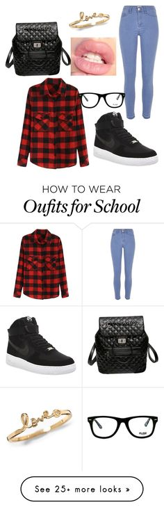"""""""school girl"""" by pashion1for2fashion on Polyvore featuring River Island, NIKE, Muse, women's clothing, women, female, woman, misses and juniors"""