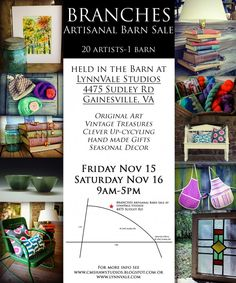 Branches Artisanal Barn Sale by CMShaw Studios, located at the barn at www.LynnVale.com, Nov. 15 & 16, 9am - 5pm, original art, vintage treasures, clever upcycling, handmade gifts & seasonal decor.
