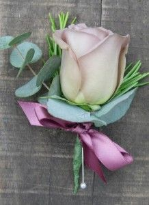 Grooms buttonhole Gatsby Wedding Decorations, Wedding Themes, Wedding Ideas, Blue Wedding, Wedding Flowers, Groom Buttonholes, Lilac Roses, Corsages, Vintage Roses