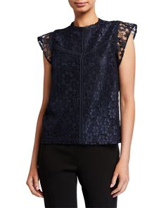 Shop Lace High-Neck Cap-Sleeve Stitched Blouse from Nanette Nanette Lepore at Neiman Marcus Last Call, where you'll save as much as on designer fashions. Nanette Lepore, Cotton Blouses, Half Sleeves, Neiman Marcus, High Fashion, Cap, Clothes For Women, Baseball Hat, Outerwear Women